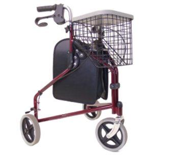 Rollátor 3 kerekű DRIVE vörös táskával, kosárral és tálcával