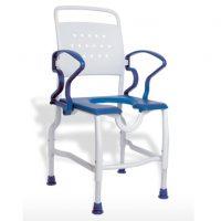 Tusolószék /  fürdető szék felhajtható karfával, stabil, 130 kg-ig terhelhető