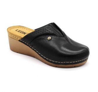 Leon Comfortstep 1002 fekete női bőr papucs 36-41