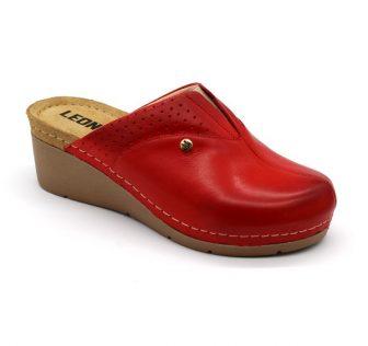 Leon Comfortstep 1002 piros női bőr papucs 36-41