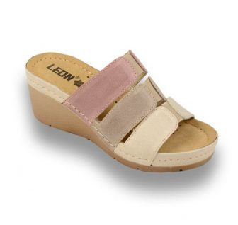 Leon Comfortstep 1009 női bőr bézs-barna-rose papucs 36-41