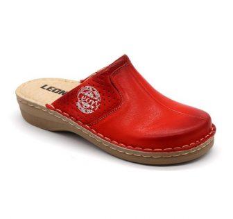 Leon Comfortstep 360 piros női bőr papucs 36-42