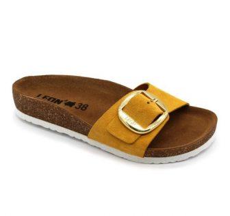 Leon Comfortstep 4020 sárga női bőr papucs 36-41 -Birkenstockhoz hasonlatos talppal
