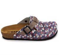 Leon Comfortstep 4250C női kék-virágos bőr klumpa 36-41-Birkenstockhoz hasonlatos talppal