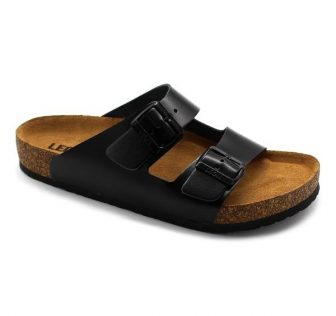 Leon Comfortstep 4703 fekete férfi bőr papucs 42-46 -Birkenstockhoz hasonlatos talppal