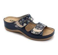 Leon Comfortstep 904C női kék-virágos bőr papucs 36-41