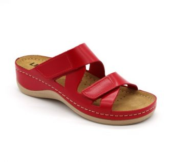 Leon Comfortstep 906 piros női bőr papucs 36-42