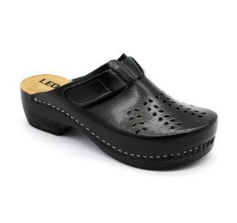 Leon Comfortstep PU 161 fekete női bőr papucs 36-41