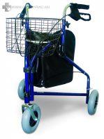Háromkerekű fékezhető rollátor, magassága állítható, kültéri és beltéri használatra is alkalmas