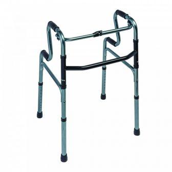 Lépcsőzetes, felállást segítő járókeret 4 markolattal, 100kg-ig, állítható, összecsukható